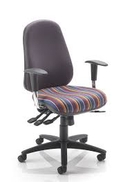 a high back office chair with a pump up lumbar and the option of a seat slide to support longer legs available in a range of fabrics to suit your