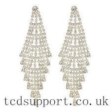 throbbing red herring gold diamante chandelier earring evening wear jewellery