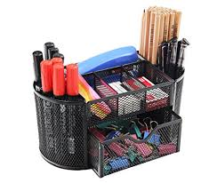 office pen holder. PAG Office Supplies Mesh Desk Organizer Pen Holder Accessories Storage Caddy With Drawer, 9 Compartments, Black P