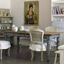 Living Room:Shabby Chic Room With Distressed Dining Table And Old Painting  Also Worn Dining