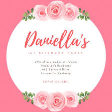 Invites Birthday Party Pink Floral 1st Birthday Party Invitation Templates By Canva