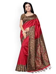 ishin red poly silk solid saree