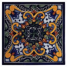 zinnia hand painted talavera tile