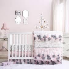 colette pink grey fl baby girl crib bedding 20 piece nursery essentials set com