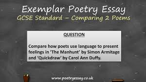 exemplar poetry essay comparing two poems gcse standard