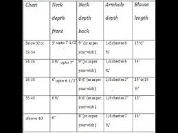 Measurement Chart For Blouse In Tamil
