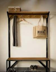 Metal Hall Tree Coat Rack Industrial Pipe And Wood Entry Coat Rack Bench Entrance Bench 20