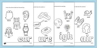 Phonics is a method of teaching kids to learn to read by helping them to match the sounds of letters, and groups of letters, to distinguish words. Phase 3 Trigraph Coloring Sheets Pack Teacher Made