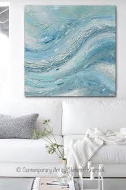 original art abstract painting blue green grey white textured large canvas modern coastal wall art decor  on large wall art teal with original art abstract painting coastal wall decor blue green