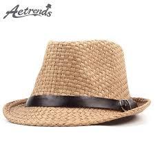 [AETRENDS] 2018 New Summer Beach Hat Straw Sun Hats for Men Women Jazz Cap Panama Caps Derby Bowler Z-6332 AETRENDS]