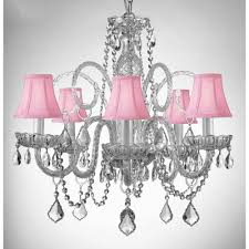 empress crystal 5 light chandelier with pink shades