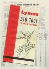 Lyman 310 Tool Die Chart Lyman 310 Tong Tool Instructions W Die Reference Chart