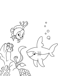 coral reef fish drawing. Modren Fish Cute Shark And Coral Reef Fish Coloring Page Inside Drawing