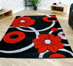 red and grey rugs black cream