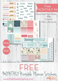 monthly planner free download january 2018 monthly free planner stickers print and cut pink