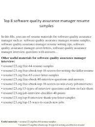 Qa Manager Cover Letter Sample Qa Specialist Sample Resume Podarki Co