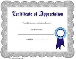 This Certificate Of Appreciation Is Adorned With A Blue