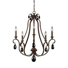 feiss dewitt 5 light weathered iron single tier chandelier with shade