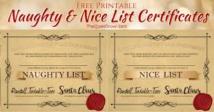 Certificates Printable Free Printable Naughty And Nice List Certificates The