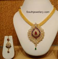 gold chain with cz pendant jewellery designs