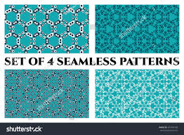 Set of 4 abstract seamless patterns of circle and drop elements in blue,  teal,