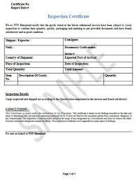 Inspection Certificate Tuv Rheinland