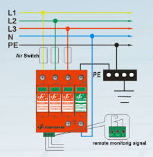 40ka class ii 4p three phase power supply surge protection device wiring diagram
