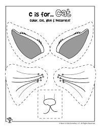 Bee cutting practice worksheets from. C Is For Cat Color Cut And Paste Woo Jr Kids Activities