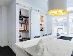 white barn doors for a modern kitchen