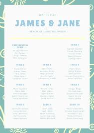 Beach Wedding Seating Chart Blue And Yellow Floral Pattern Wedding Seating Chart