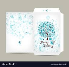 Greeting Envelope Design Female Birthday Tree