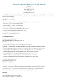 Management Resume Sample Property Management Specialist Resume Resame Pinterest 44