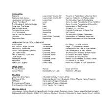 Musical Theater Resume Sample Musical Theatre Resume Examples Movie