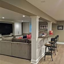basement interior design ideas. Large Transitional Underground Laminate Floor And Gray Basement Photo  In New York With Beige Walls Interior Design Ideas