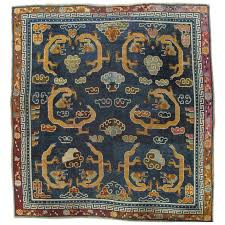 antique tibetan carpet circa 1880 handmade oriental rug blue gold tan