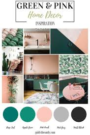 Green and pink interiors and home dcor inspiration. How to create the  look, trend