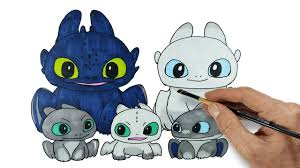 Light Fury And Toothless Baby Toothless Light Fury And Baby Dragons Httyd Homecoming Drawing And Coloring