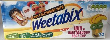 It consists of several pounds of wheat and protein supplements *they arrive at a castle only to see the sherriff eating weetabix upon a tower. Weetabix 12 S Standard 215gm Jolly Grub