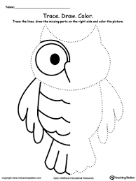Trace The Lines Draw Missing Lines Color Picture Owl kindergarten drawing printable worksheets myteachingstation com on free social skills worksheets
