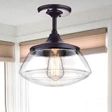Orb Clear Glass Schoolhouse Semi Flush Mount Ceiling Light