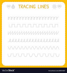 Writing Lines For Kindergarten Trace Line Worksheet For Kids Basic Writing
