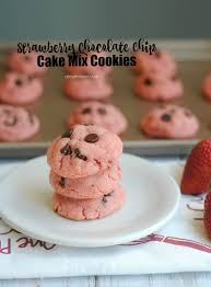 Strawberry Chocolate Chip Cake Mix Cookies About A Mom