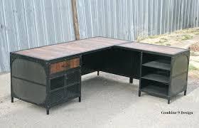 metal desks for office. Industrial Metal Desk Custom Made Vintage W Return Reclaimed Wood Steel Urban . Desks For Office S