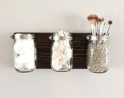 Mason Jar Holder, Mason Jar Rack, Makeup Organizer, Mason Jar Decor,  Bathroom