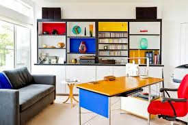 colorful home office. grey sofa with red chair and yellow desk for creative ideas home office some colorful s
