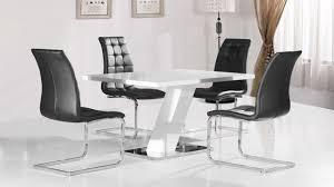 white high gloss dining table and 4 black chairs homegenies