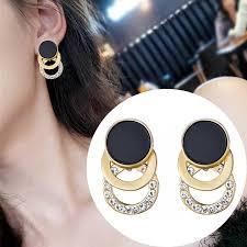 New square crystal drop <b>earrings</b> for women gold shining <b>luxury</b> ...