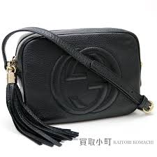 kaitorikomachi gucci soho black leather disco bag small size tassel charm interlocking grip g cross shoulder bag fringe 308364 a7m0g 1000 soho leather