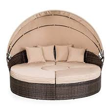 outdoor wicker daybed.  Outdoor Suncrown Outdoor Furniture Wicker Daybed With Retractable Canopy   Clamshell Seating Separates To 4 Chairs Intended