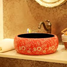 ceramic wash basin counter basin art basin vintage handmade round